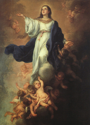 The Virgin Mary, whose life is the perfect model of Christian faith, travels before us in the reception of divine love as she is assumed into heaven.
