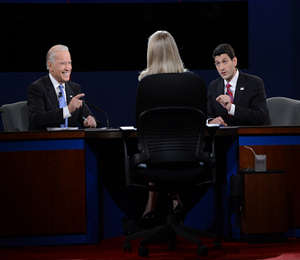 The debate was a lively affair for Biden as Ryan watched the antics with stifled amusement.
