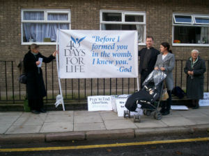 Protesters gather in front of a Marie Stopes International abortion mill.