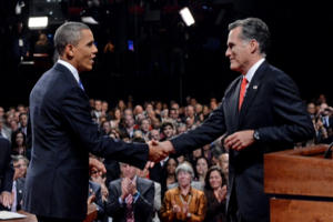 Romney and Obama shake hands as debate begins