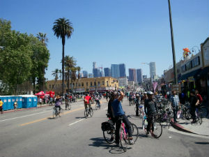 At CicLAvia, cyclists enjoy the city streets without the competition of cars.