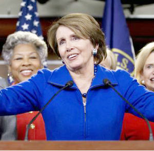 Surrounded by her colleagues that she called her 'sisters,' Nancy Pelosi said 'And I have made a decision to submit my name, to my colleagues, to once again serve as the House Democratic Leader,' she said.