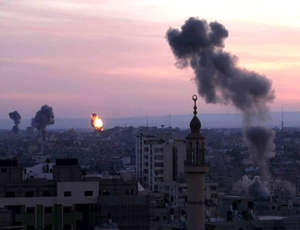 An Israeli missile strikes a target in Gaza.