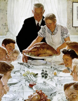 The famous Thanksgiving of Norman Rockwell