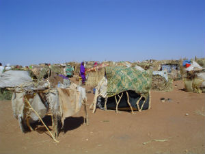 Refugees live in makeshift camps such as these and are especially susceptible to mosquito borne illnesses.