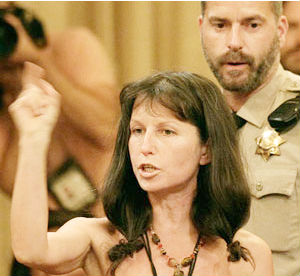 Gypsy Taub, a nudist activist who had organized protests-in-the-buff and marches in the weeks leading up to the ruling, doffed her duds before sheriff's deputies escorted her from the room.
