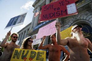 Nude protestors object to the approaching ban, in the nude of course.