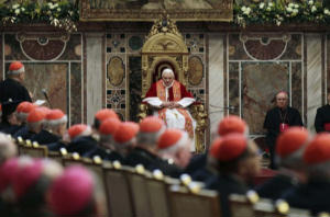 Pope addressing Roman Curia