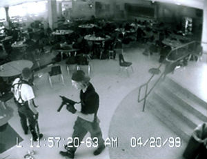 Klebold and Harris in this iconic image from the massacre.