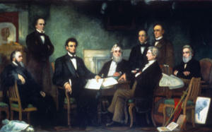 Abraham Lincoln signing the emancipation proclamation