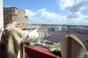 Pope Benedict XVI greets the faithful