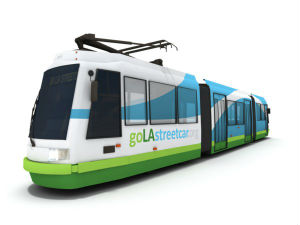 A rendering of LA's new streetcar.
