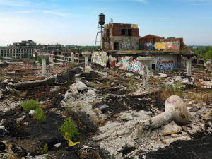 The ruins of a Detroit factory.