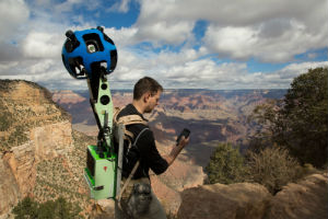 A hiker captures panoramic images of the Grand Canyon for Google.