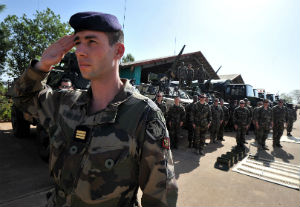 Deploying French Marines stand at the ready to defend Mali from Islamists.