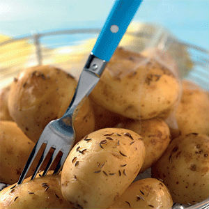 A good source of high fiber are potatoes cooked in their skins.