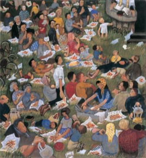 A contemporary rendering of the hungry crowd