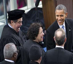 Justice Scalia in a Thomas More hat at the Inauguration