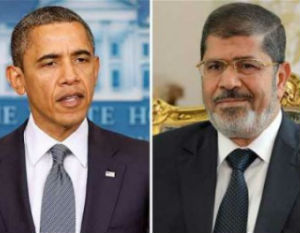 President Obama of the United States and President Morsi of Egypt
