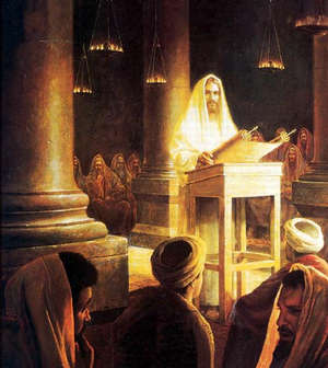 Jesus read from the Prophet Isaiah in the synagogue at Nazareth