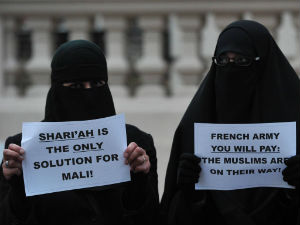 Islamic women protest against the French intervention in Mali.