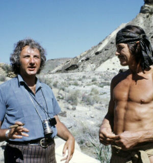 Director Michael Winner, here seen with his frequent star, Charles Bronson,a s he directed 'Chato's Land.'
