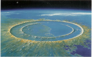An artist's rendition of the impact crater based on geological evidence.