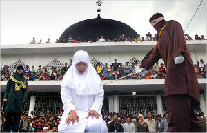 Flogging is a common punishment for women under Sharia law.