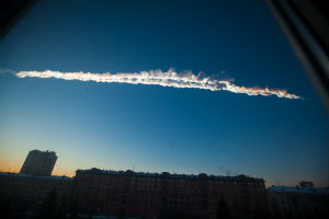 The meteorite streaked a twin contrail in the sky over Chelyabinsk.