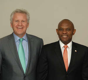 General Electric says it plans to invest $1 billion in Nigeria; the investment will reportedly triple the country's electrical output over the next decade. The news comes on the eve as Nigeria seeks to reform its dilapidated and corrupt power sector. (Photo: Transcorp Chairman Tony O Elumelu, CON, and Jeff Immelt, Global CEO of GE; Lagos, Nigeria)