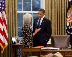 President Obama and Kathleen Sebelius, HHS Secretary