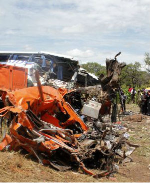 Zambia's Information Minister Kennedy Sakeni said at least 53 people died in the crash, while another 22 had been taken to local hospitals. A sport utility vehicle also was involved in the crash.