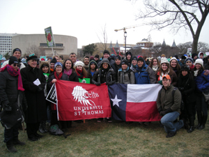 Pictured: University President Dr. Robert Ivany (second from left) and Archbishop of Galveston-Houston Daniel Cardinal DiNardo (third from left) join UST students and friends at March for Life, in 20 degree weather, on Jan. 25 in Washington D.C.