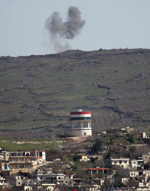 The Israeli military said one of its vehicles was hit by shooting from across the Israeli-Syrian ceasefire line on the Golan Heights. There were no injuries.