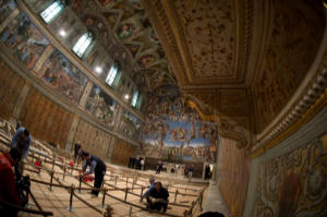 The workers preparing the Sistine Chapel