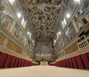 The Sistine Chapel where the cardinals will enter at 11.30 am EDT to take their oath of secrecy and prepare for the first ballot in the afternoon.