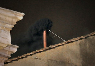 The smoke was black meaning no pope was selected on the first ballot