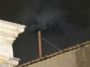 Black smoke means there will be another day of voting tomorrow.