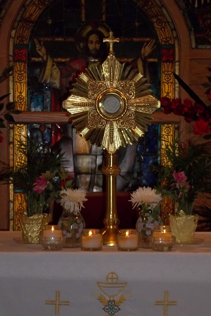 Eucharist exposed for adoration in a monstrance
