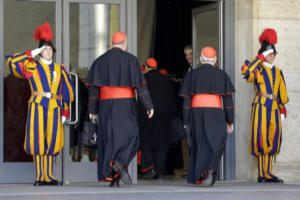 Cardinals enter the first meeting of the Congregation before the Conclave begins