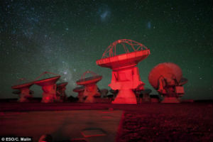 Some of the dishes of the Atacama Large Millimeter Array.