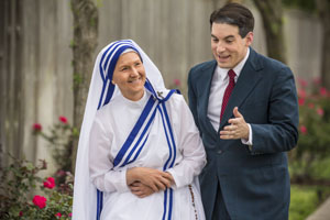 Vicky McCormick as Mother Teresa, Marty Blair as Malcolm Muggeridge. -Photo by Bara Photography