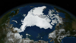 A composite satellite image shows the extent of arctic sea-ice lost over the summer. The loss of ice is far more substantial than normal and a blatant sign of unnaturally rapid global climate change.