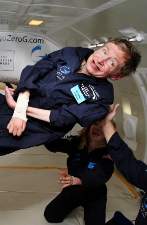 Stephen Hawking has beaten the odds and has remained active. In 2007, he floated like an astronaut on an aircraft that creates weightlessness by making parabolic dives.