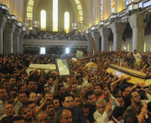 Coptic funeral at St. Mark's Church in Cairo, Egypt