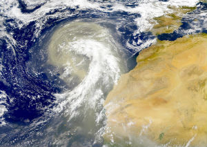 A massive dust storm blows out into the Atlantic from the Sahara.