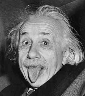 Albert Einstein in a candid photo op.