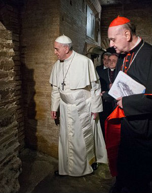 Francis 'paused in silent prayer, in profound and emotional meditation' in the Clementine Chapel in the vast basilica that is 'the closest place (in the basilica) to the tomb of the Prince of the Apostles,' a statement said.