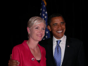Cecille Richards, the President of Planned Parenthood and now President Barack Obama. Planned Parenthood was one of the Obama campaigns biggest supporters