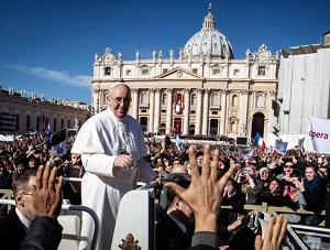 Pope Francis greeting enthusiastic crowds
